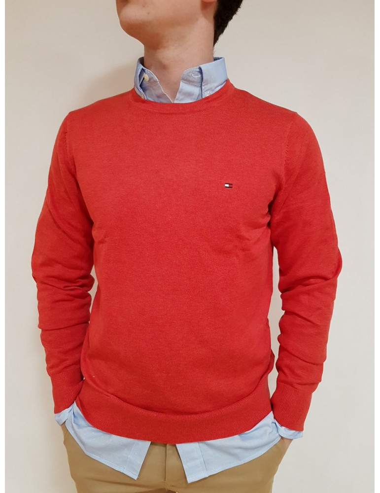 Pullover Tommy Hilfiger rosso tinta unita mw0mw08812665 TOMMY HILFIGER MAGLIE UOMO product_reduction_percent