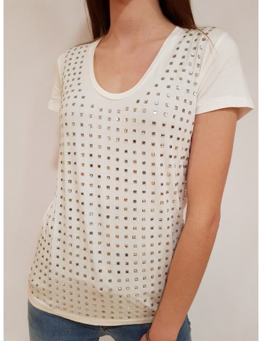 Maglietta bianca Gaudi con strass