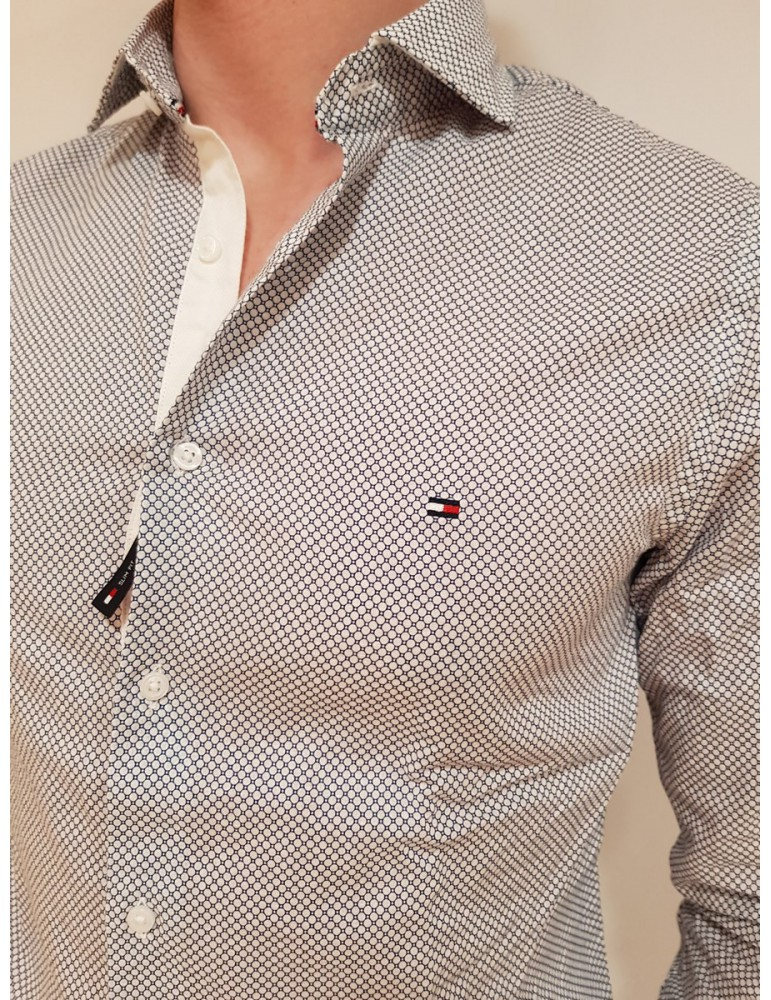 Camicia slim blue Tommy Hilfiger microfantasia mw0mw09886905 TOMMY HILFIGER CAMICIE UOMO product_reduction_percent
