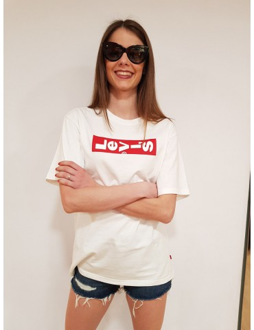 Maglietta Levi's bianca donna oversize graphic tee
