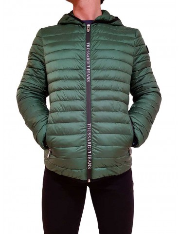 Trussardi green hooded down jacket
