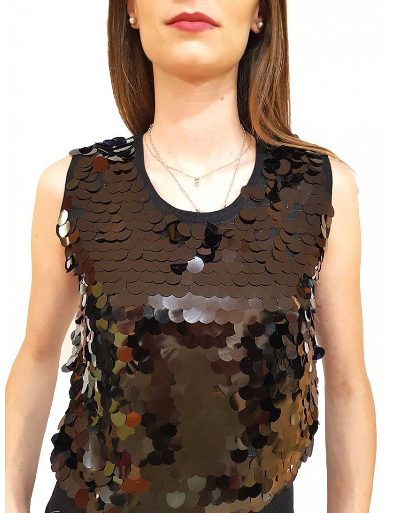 Fracomina gilet nero paillettes fr19fp8124053 FRACOMINA MAGLIE DONNA product_reduction_percent