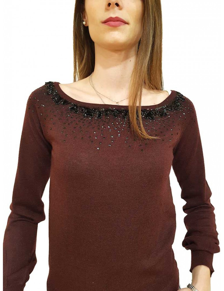 Fracomina maglia con strass e paillettes bordeaux fr19fp8119b23 FRACOMINA MAGLIE DONNA product_reduction_percent