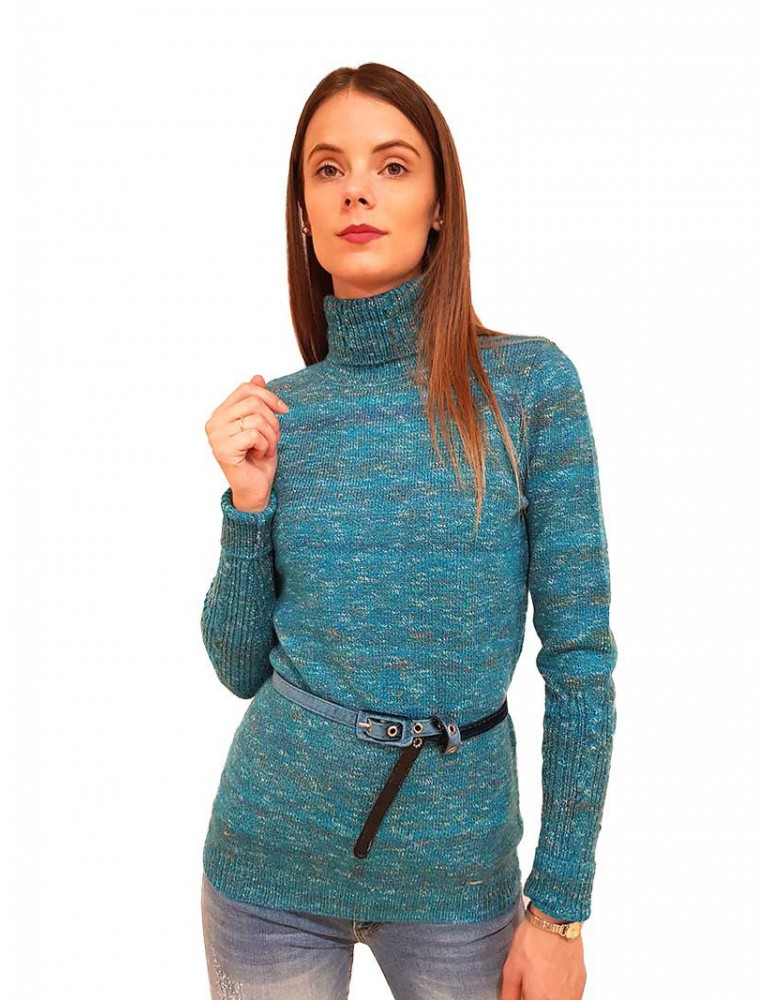 Fracomina maglia a collo alto con cintura petrolio fr19fp8079646 FRACOMINA MAGLIE DONNA product_reduction_percent