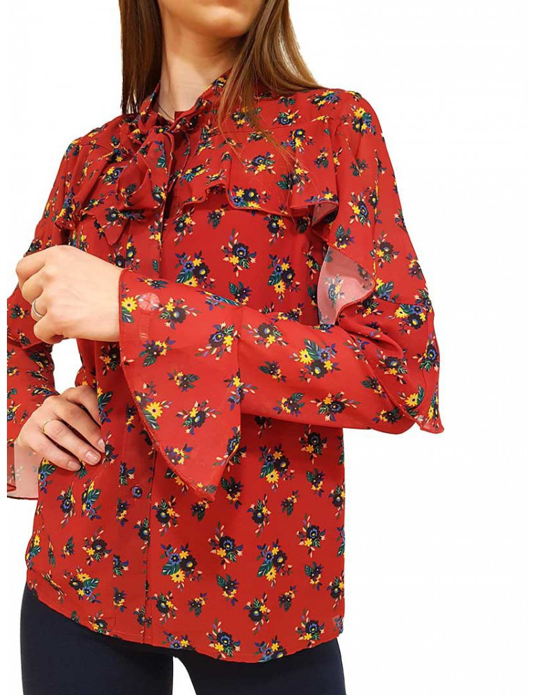 Fracomina camicia a fiori rossa fr19fp521377 FRACOMINA CAMICIE DONNA product_reduction_percent