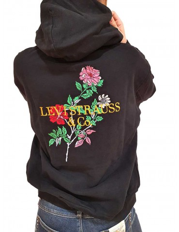 Black Levi's hoodie and embroidery