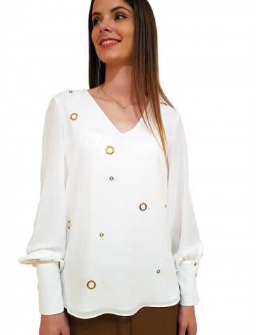 Fracomina white shirt with studs