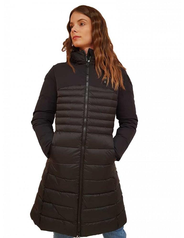 giacca neoprene donna nero tasche e cappuccio