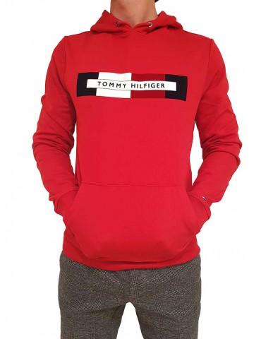 Felpa Tommy Hilfiger rossa con cappuccio e logo