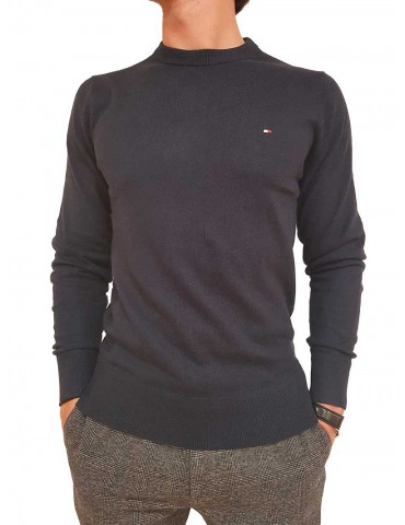 Solid cotton and cashmere Tommy Hilfiger blue choker