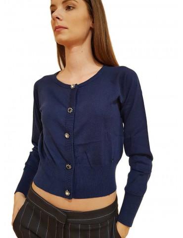 Gaudi cardigan corto bluette con bottoni gioiello