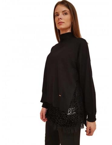 Gaudi maglia collo alto nera con top
