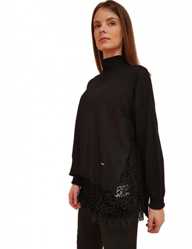 Gaudi maglia collo alto nera con top 921fd530262001 GAUDI MAGLIE DONNA product_reduction_percent