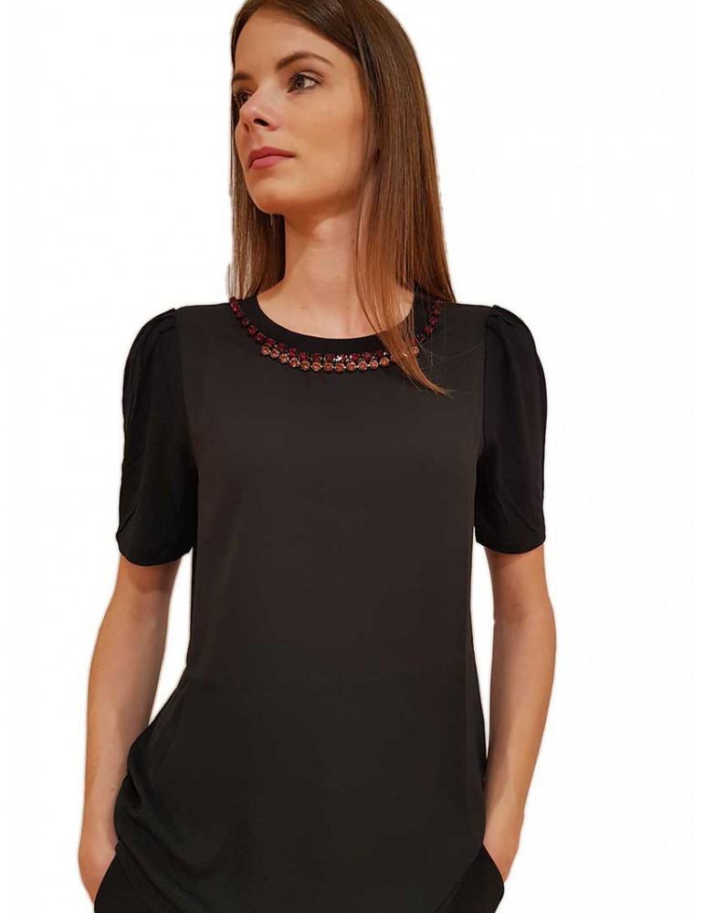 Gaudi t shirt nera con strass 921fd640072001 GAUDI T SHIRT DONNA product_reduction_percent