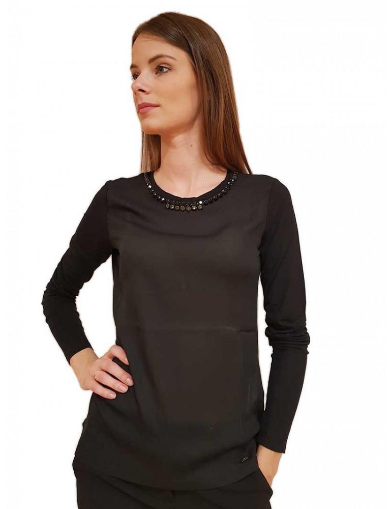 Gaudi t shirt con strass nera 921fd640082001 GAUDI T SHIRT DONNA product_reduction_percent