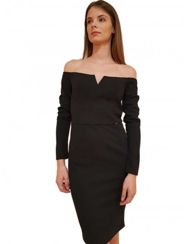 Gaudi abito tubino nero con zip off the shoulder
