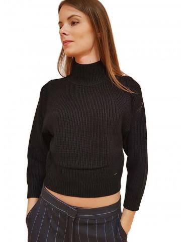 Gaudi maglia con bottoni gioiello nera