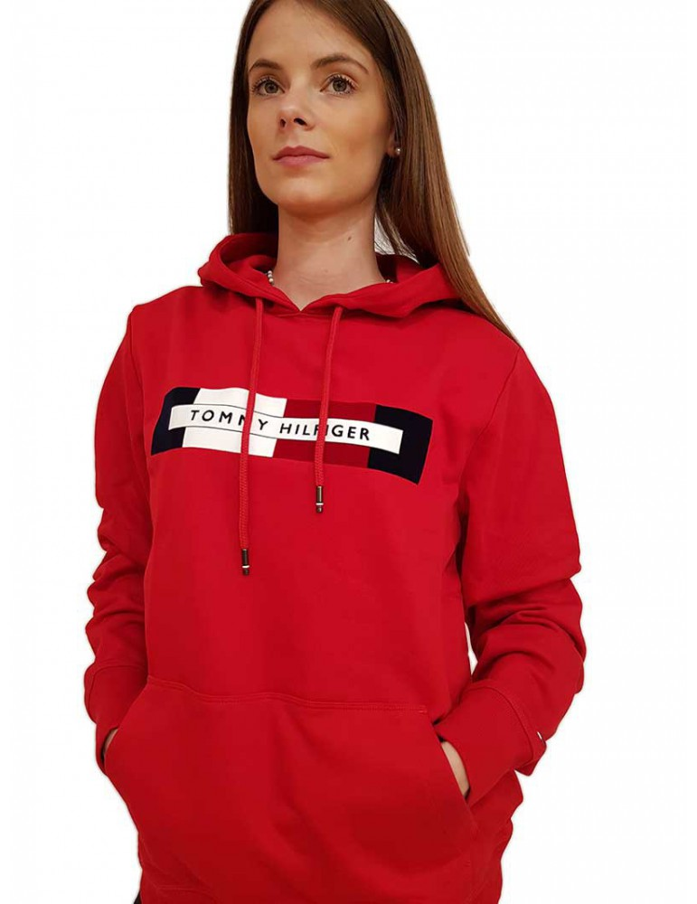 Felpa Tommy Hilfiger ragazza rossa con cappuccio e logo mw0mw11579xbed TOMMY HILFIGER FELPE DONNA product_reduction_percent
