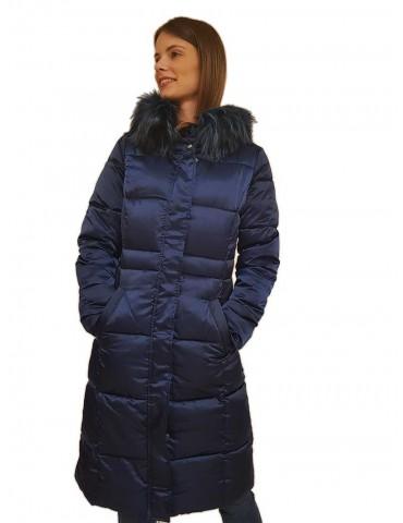 Gaudi piumino lungo blu con cappuccio e pelliccia