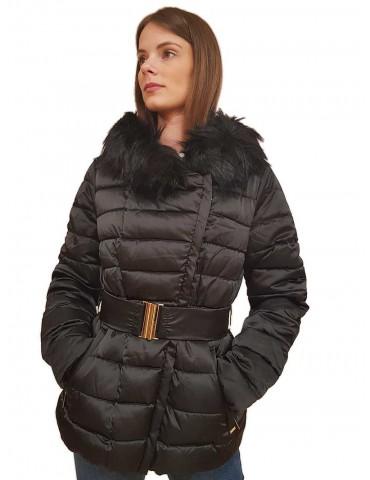Gaudi piumino nero corto con cappuccio e cintura