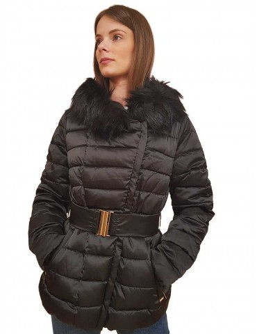 Gaudi short black down jacket with hood and belt