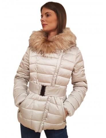 Gaudi piumino corto ghiaccio con cappuccio e cintura