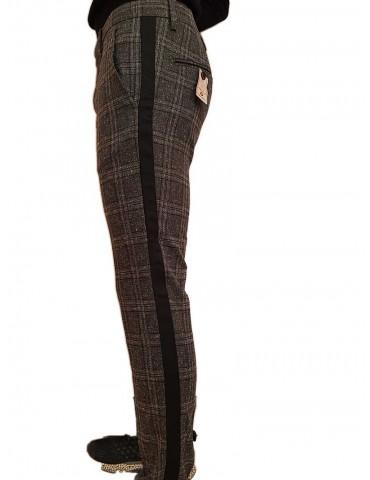 Pantalone skinny Roberto P Luxury a quadri con banda laterale grigio nero