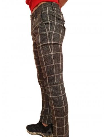 Roberto P Luxury pantalone skinny a quadri grigio nero