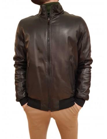 Roberto P Luxury reversible black leather jacket