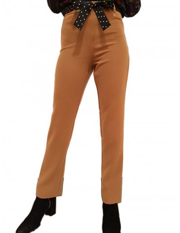 Fracomina pantalone donna cammello cintura nera pois