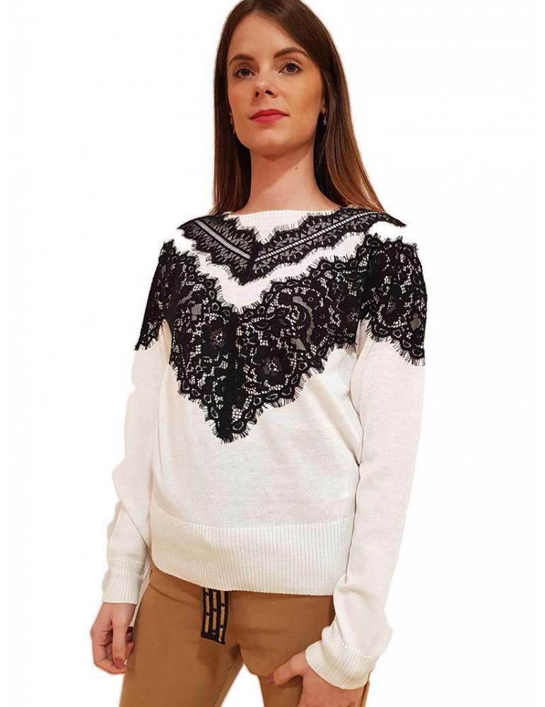 Fracomina maglia in pizzo crema e nero fr19fp8114109 FRACOMINA MAGLIE DONNA product_reduction_percent