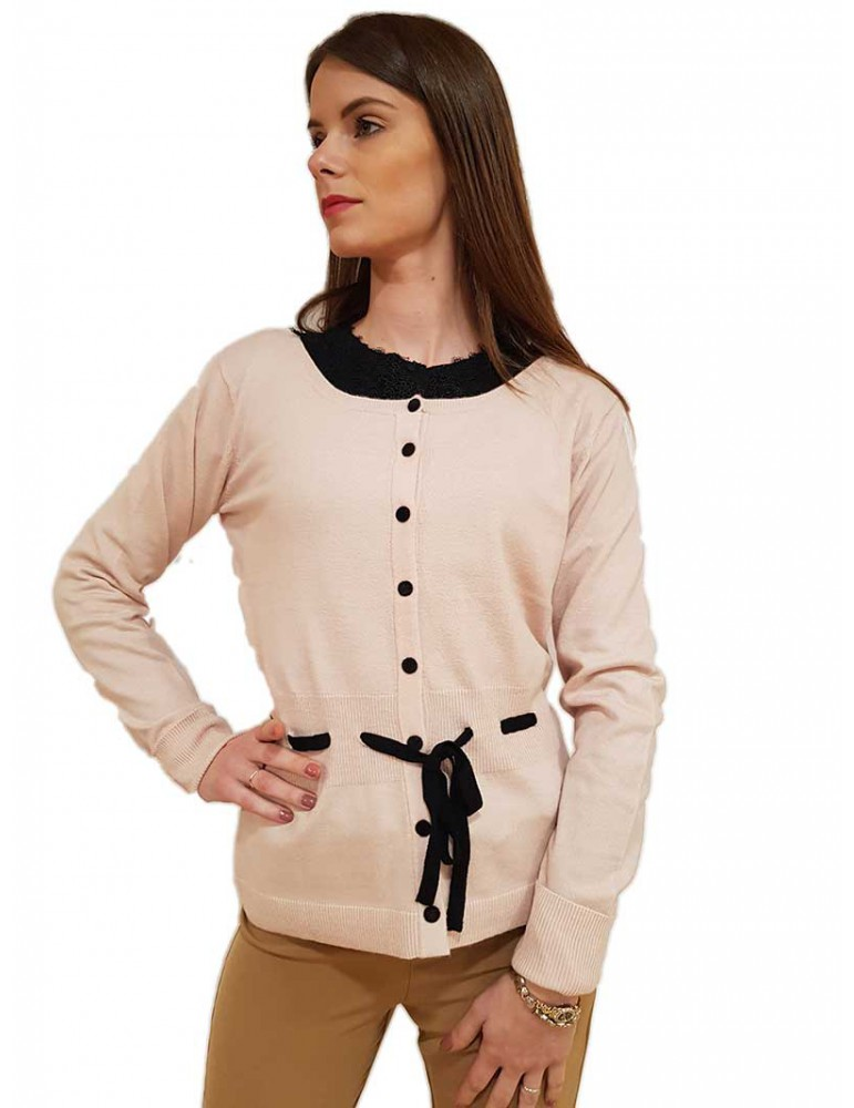 Cardigan chanel Fracomina cipria con cintura fr19fp8086d53 FRACOMINA MAGLIE DONNA product_reduction_percent