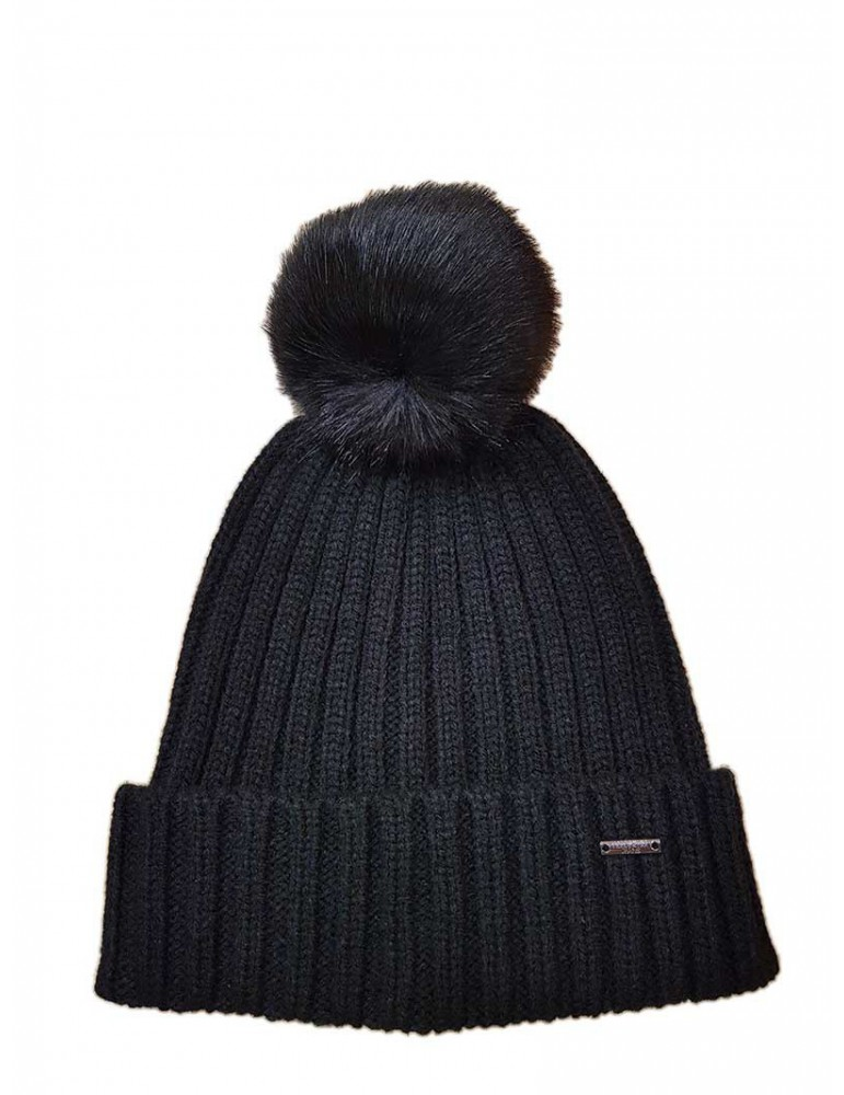 Cappello Fracomina con pom pom nero fr19fp249053 FRACOMINA ACCESSORI DONNA product_reduction_percent