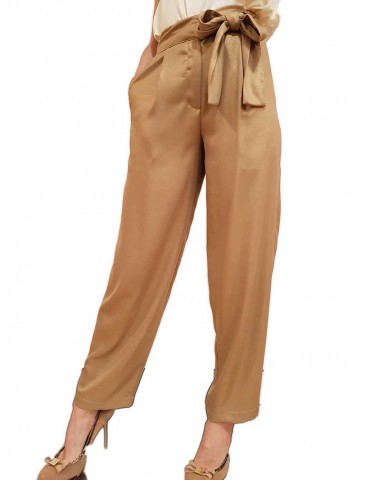 Fracomina pantalone largo beige con fiocco
