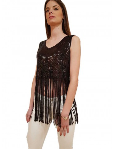 Fracomina top crop nero con frange in paillettes