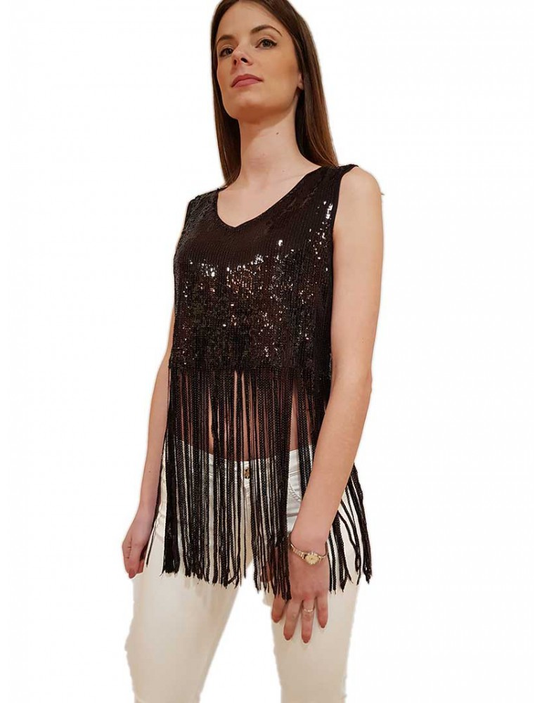 Fracomina top crop nero con frange in paillettes fr20sp503053 FRACOMINA T SHIRT DONNA product_reduction_percent