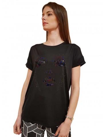 Fracomina t shirt nera elegante con applicazioni