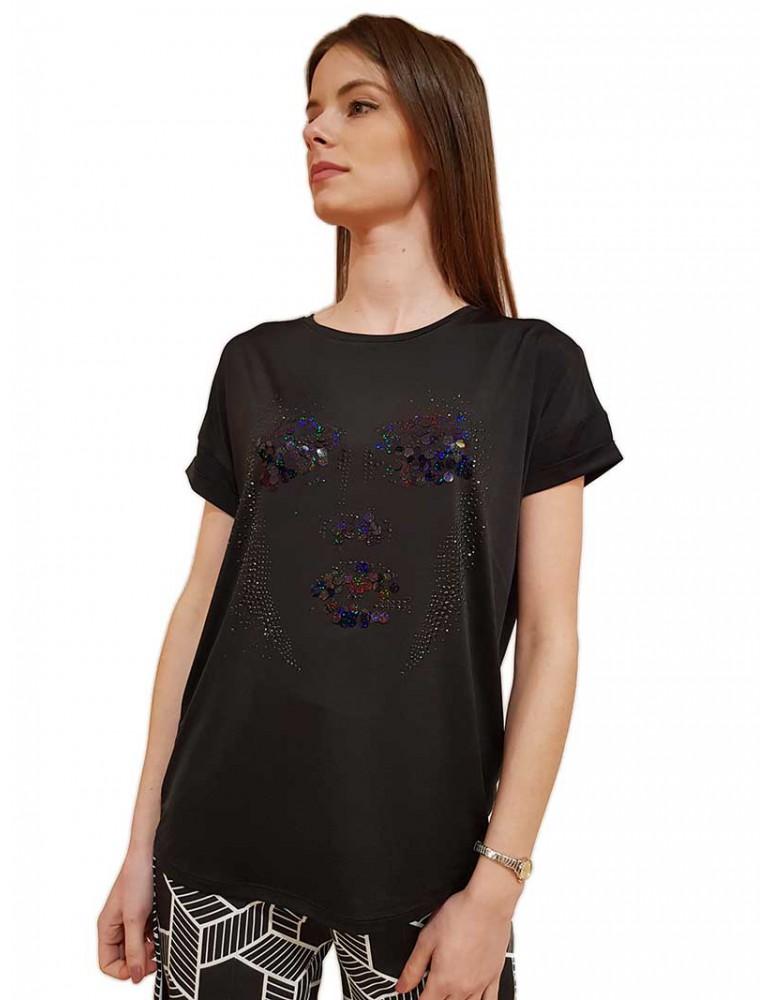 Fracomina t shirt nera elegante con applicazioni fr20sp339053 FRACOMINA T SHIRT DONNA product_reduction_percent