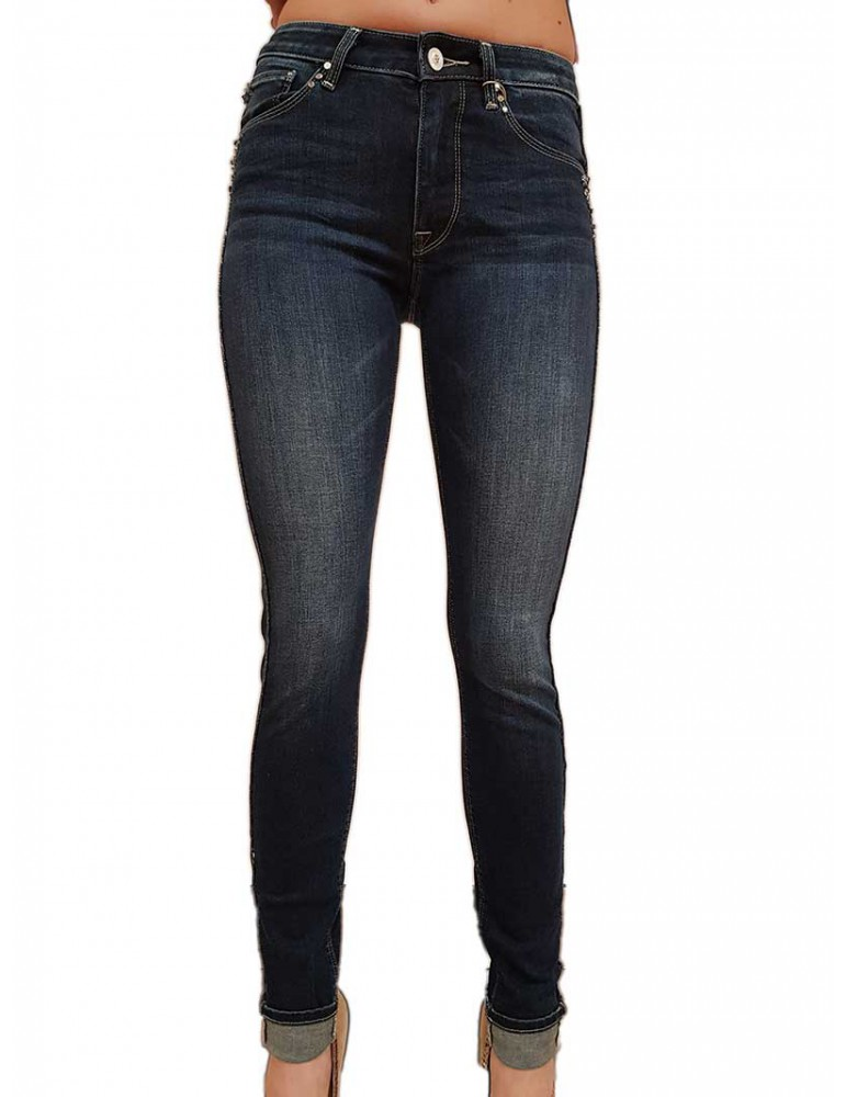 Jeans Fracomina Victoria 3 con strass e bande laterali fr20spjvictoria3117 FRACOMINA JEANS DONNA product_reduction_percent