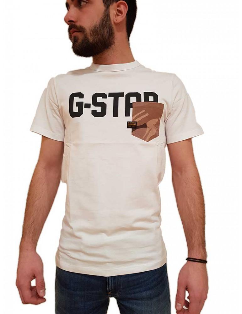 T shirt G-Star Raw Gsraw Allover Pocket bianca  d16385b771110 G-STAR RAW T SHIRT UOMO product_reduction_percent