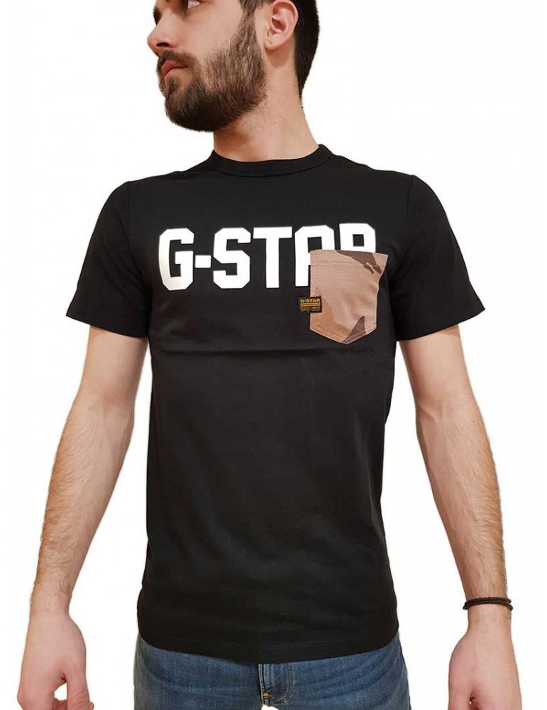 T shirt G-Star Raw Gsraw Allover Pocket nera d16385b7716484 G-STAR RAW T SHIRT UOMO product_reduction_percent