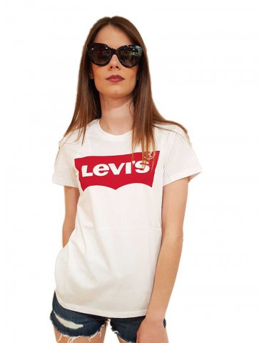 Levi's t shirt bianca logo rosso the perfect tee
