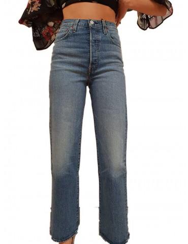 Levi's® jeans alla caviglia dritto vita alta chiaro