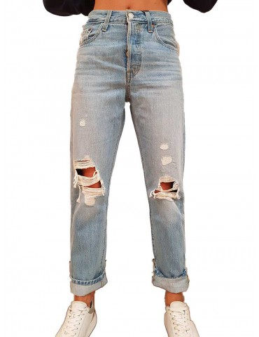 Levi's 501 strappato chiaro crop montgomery patched