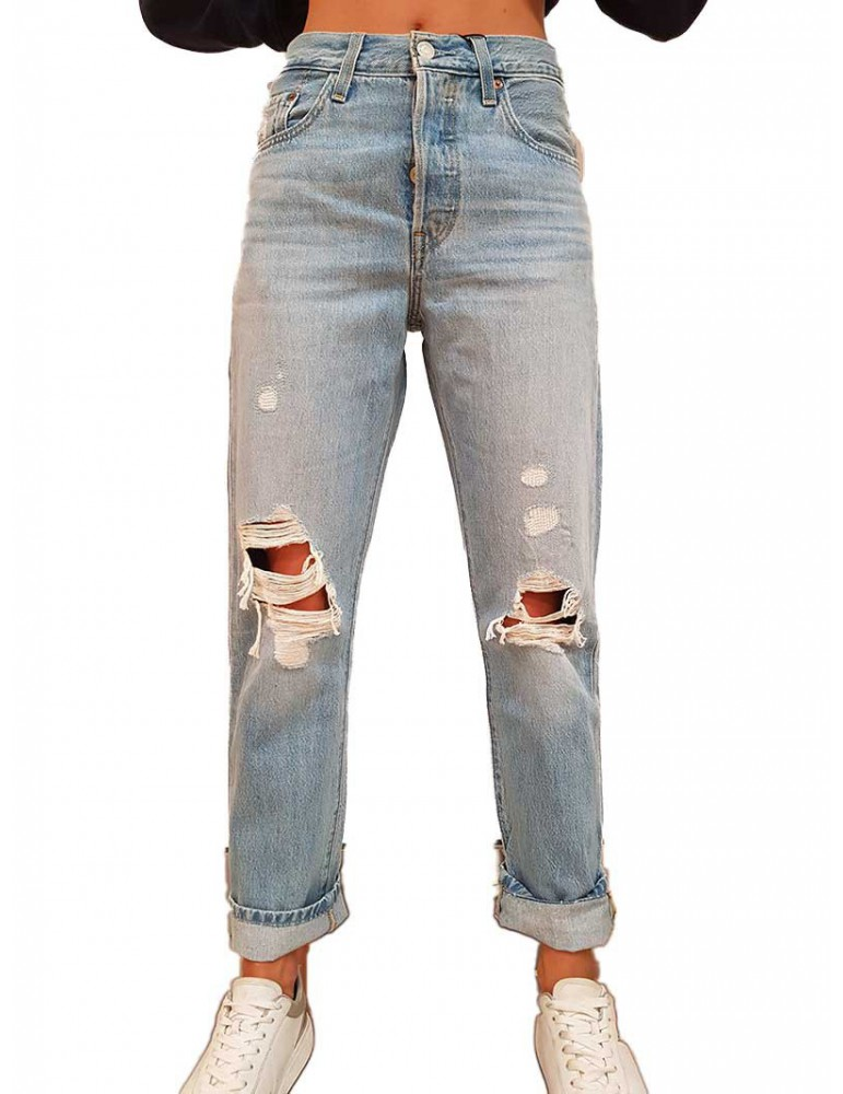 Levi's 501 strappato chiaro crop montgomery patched 362000072 LEVI'S JEANS DONNA product_reduction_percent