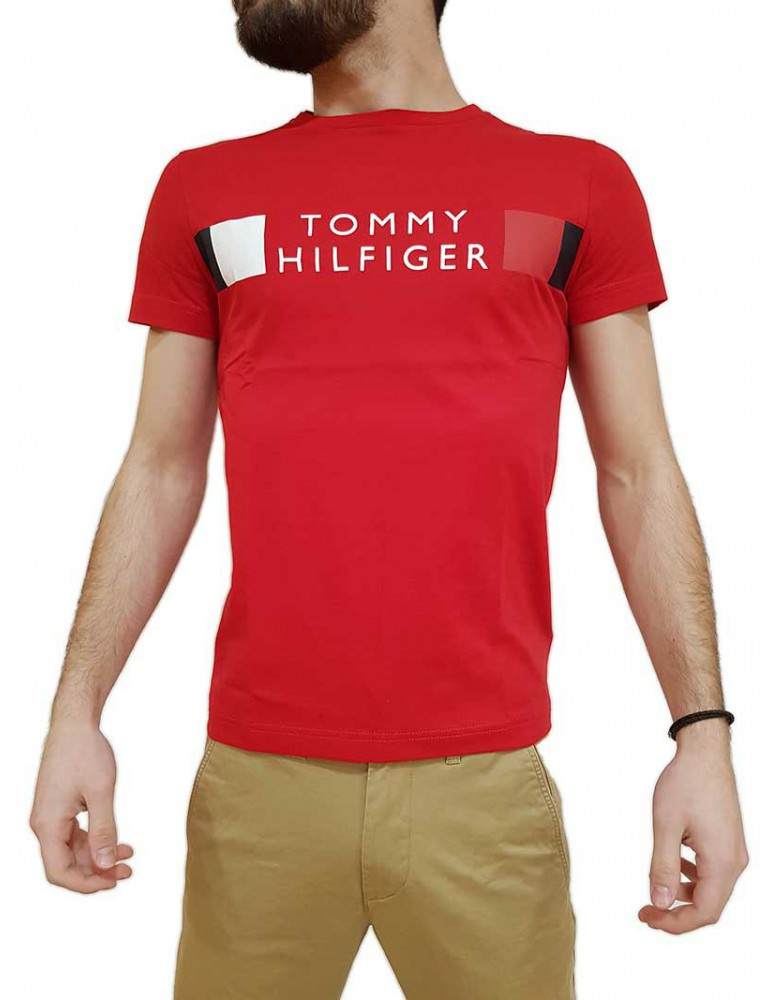 Tommy Hilfiger t shirt rossa mw0mw13330xlg TOMMY HILFIGER T SHIRT UOMO product_reduction_percent
