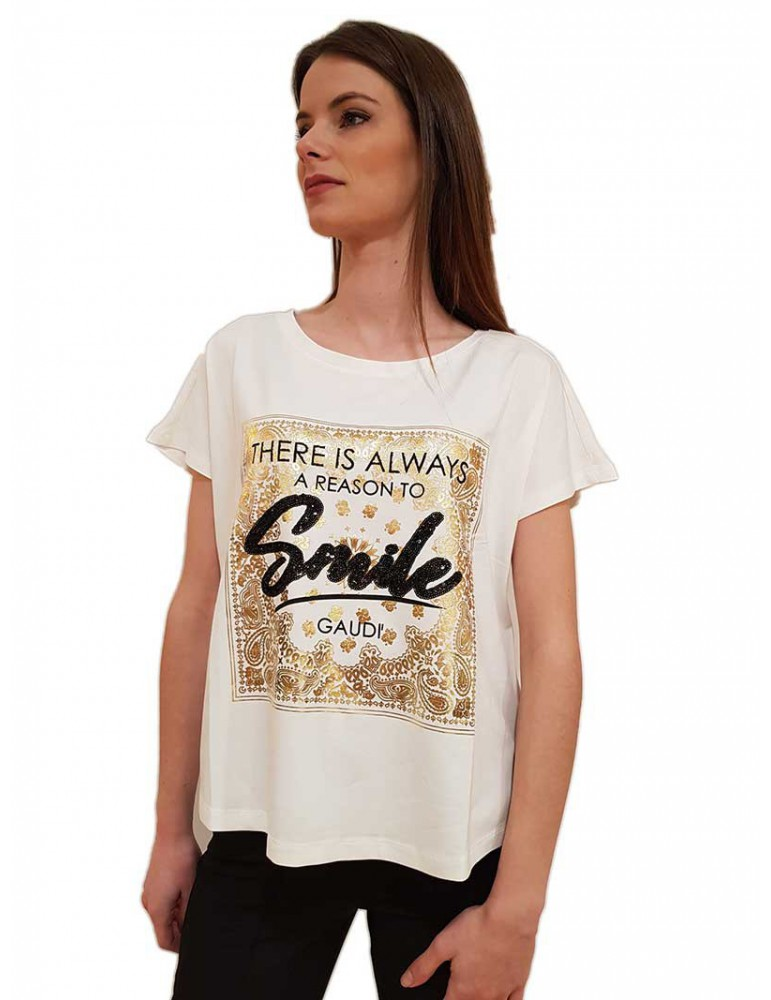 T shirt bianca Gaudi stampa oro con paillettes 011fd640212101 GAUDI T SHIRT DONNA product_reduction_percent
