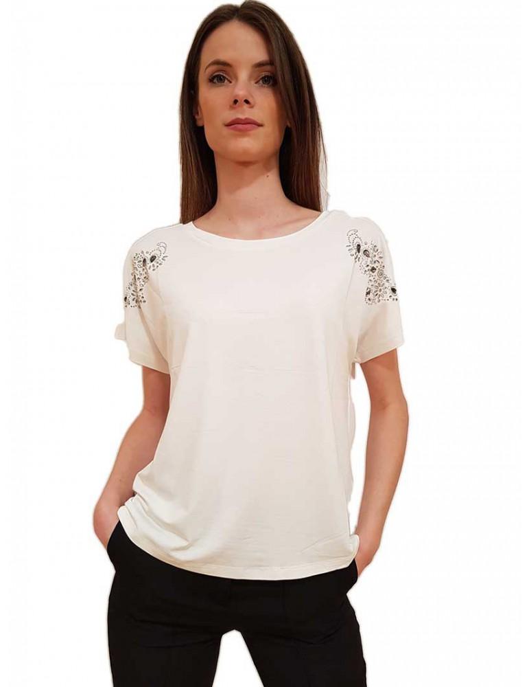T shirt bianca Gaudi con strass 011fd640222101 GAUDI T SHIRT DONNA product_reduction_percent