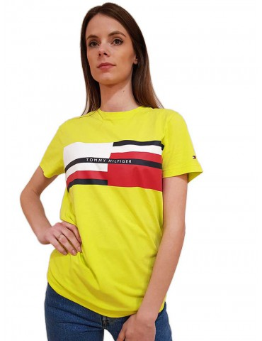 T shirt lime Tommy Hilfiger con logo a righe colorate
