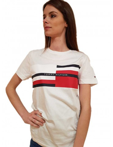 T shirt bianca Tommy Hilfiger con logo a righe colorate